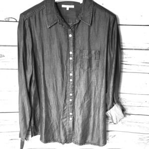 FoxCroft Button up Dark Grey Long sleeve Blouse